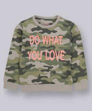 Plum Tree Full Sleeves Camouflage Print Sweatshirt - Olive Green