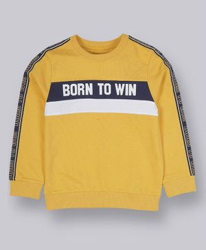 Plum Tree Full Sleeves Born To Win Sweatshirt - Yellow