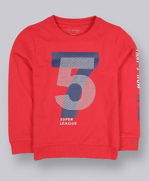 Plum Tree Full Sleeves Numbers Printed Sweatshirt - Orange