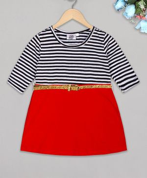 The Sandbox Clothing Co Full Sleeves Winter Striped Dress - Red