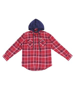 GINI & JONY Checked Full Sleeves Hooded Shirt - Red