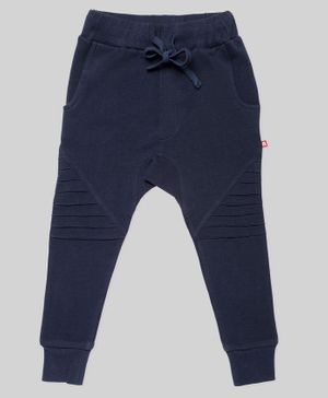 Nino Bambino Solid Colour Full Length Organic Cotton Joggers - Navy Blue