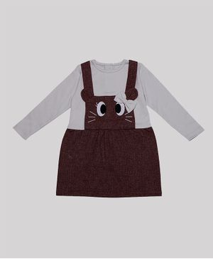 Nino Bambino 100% Organic Cotton Full Sleeves Eyes Embroidery  Dress - Brown