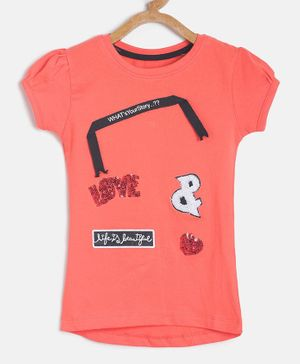 Tales & Stories Short Sleeves Love Sequined T-shirt - Red