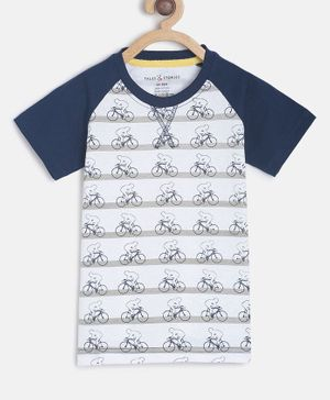 Tales & Stories Half Sleeves Man With Cycle  Printed T-Shirt - White