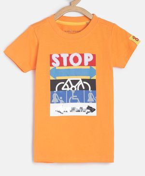 Tales & Stories Half Sleeves Stop Embellished T-Shirt - Orange