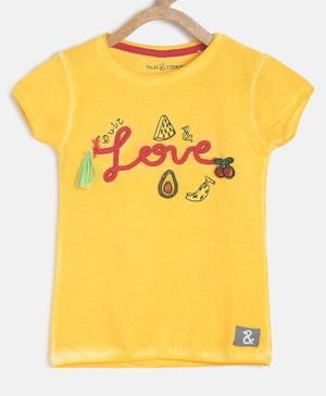 Tales & Stories Short Sleeves Love Embellished T-Shirt - Yellow