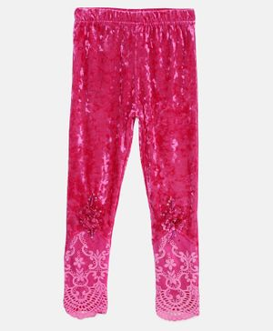 Actuel Full Length Lace Detailing Leggings - Pink