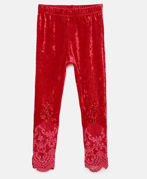Actuel Full Length Lace Detailing Leggings - Red