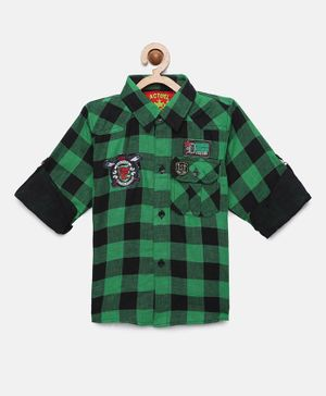 Actuel Full Sleeves Checkered Shirt - Green