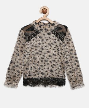 Actuel Full Sleeves Animal Print Top - Beige