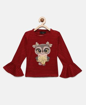 Actuel Full Sleeves Striped & Owl Patch Top - Maroon