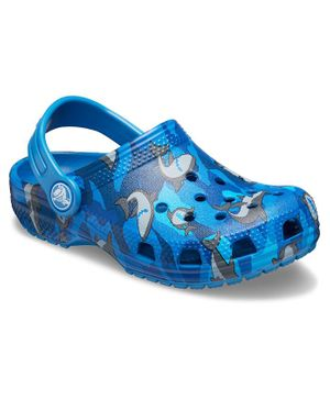 Crocs Classic Shark Clogs - Blue