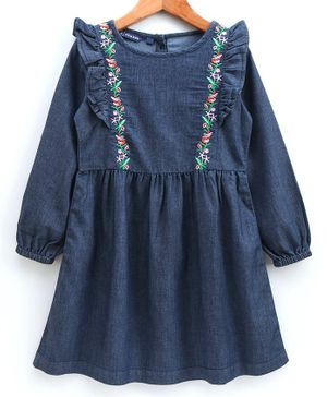 Pine Kids Full Sleeves Enzyme Softner Wash Embroidered Frock - Dark Blue