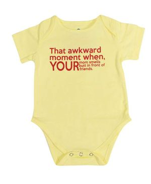 Blue bus Store Awkward Moment Print Short Sleeves Onesie - Yellow