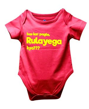 Blue bus Store Ruleyega Kya Print Short Sleeves Onesie - Pink