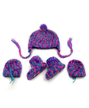 Magic Needles Hand Knitted Cap With Mittens & Booties - Violet & Blue