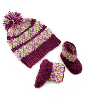 Magic Needles Pom Pom Detailed Handmade Cap & Booties Set - Purple