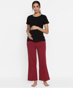 Wobbly Walk Solid Half Sleeves Maternity Nursing Tee & Pajama Set - Black & Maroon