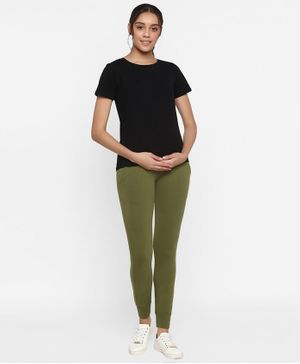Wobbly Walk Half Sleeves Solid Nursing Tee With Joggers - Green
