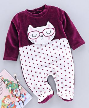 Wonderchild Full Sleeves Cat Patch Printed Romper - Purple