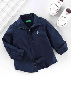 UCB Full Sleeves Solid Color Shirt - Navy Blue