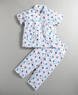 IndiUrbane Vehicle Print Short Sleeves Night Suit - Blue