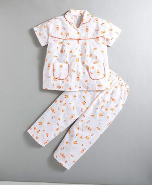 IndiUrbane Ice Cream Print Short Sleeves Night Suit - Orange