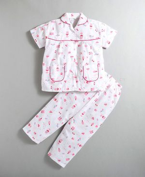 IndiUrbane Ice Cream Print Short Sleeves Night Suit - Pink