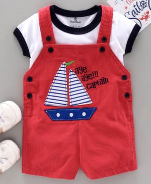 Child World Dungaree with Half Sleeves Inner Tee Boat Patch - Red White