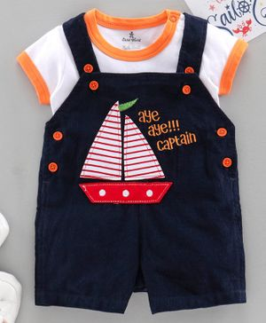 Child World Dungaree with Half Sleeves Inner Tee Boat Patch - Navy Blue