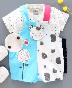 Child World Dungaree with Half Sleeves Inner Tee - Blue