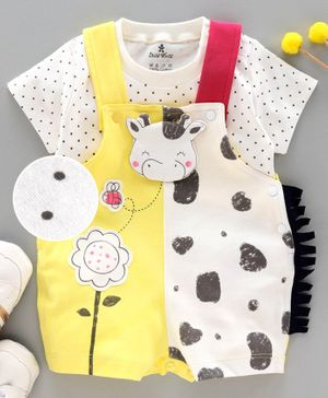 Child World Dungaree with Half Sleeves Inner Tee - Yellow