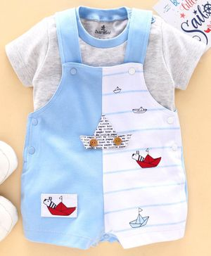 Child World Dungaree with Half Sleeves Inner Tee Boat Patch - Blue
