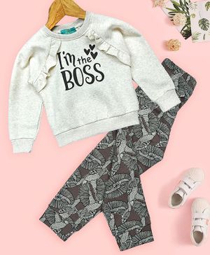 Tiara Full Sleeves I'm The Boss Printed Sweatshirt With Floral Joggers - Light Grey