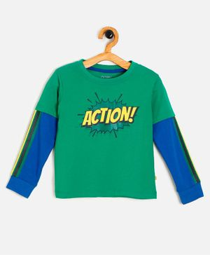 Aomi Full Sleeves Action Print T-Shirt - Green