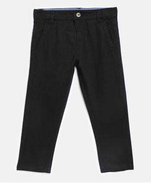 Aomi Solid Midrise Regular Fit Full Length Chinos - Black