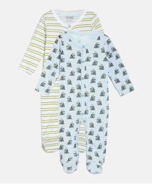 Aomi Pack Of 2 Full  Sleeves Train Print Sleepsuits - White & Blue