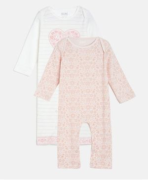Aomi Printed Full Sleeves Pack Of 2 Flower Print Rompers - Pink