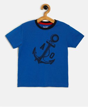 Aomi Short Sleeves Anchor Print Tee - Blue