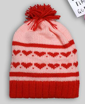 Knitting by Love Heart Design Cap - Pink