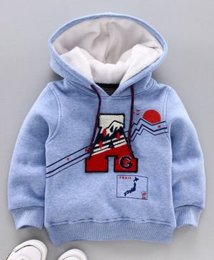 Little Kangaroos Full Sleeves Hooded Sweatshirt Alphabet Patch - Sky Blue