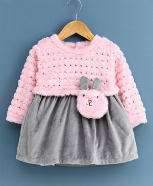Little Kangaroos Full Sleeves Frock Style Winter Jacket - Grey Pink