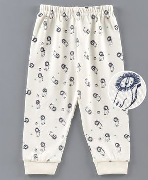 Ollypop Full Length Lounge Pants Lion Print - Cream