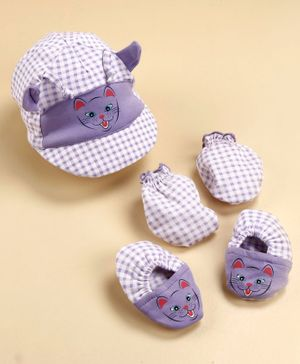 Cucumber Cap Mitten And Booties Set Purple - Diameter 11.5 cm