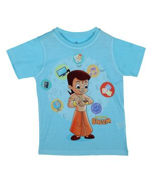 Chhota Bheem By Crossroads Half Sleeves Graphic Print Tee - Sky Blue