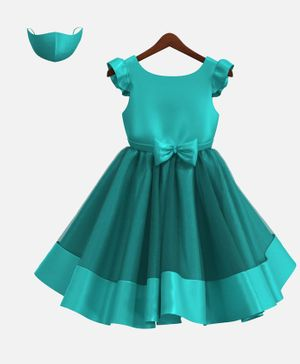 HEYKIDOO Cap Sleeves Bow Applique Solid Colour Dress With Matching Face Mask - Green