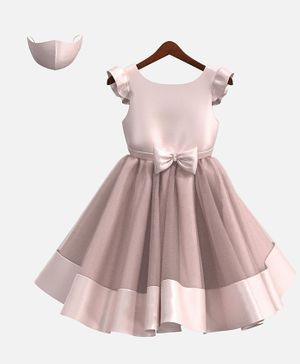 HEYKIDOO Cap Sleeves Bow Applique Solid Colour Dress With Matching Face Mask - Light Pink