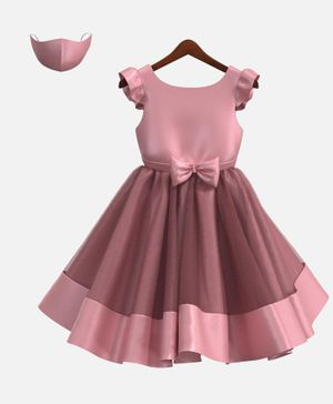 HEYKIDOO Cap Sleeves Bow Applique Solid Colour Dress With Matching Face Mask - Pink