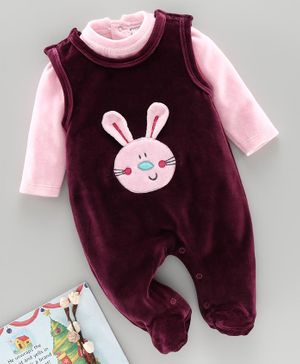 Wonderchild Full Sleeves Tee With Bunny Patch Footed Romper - Wine